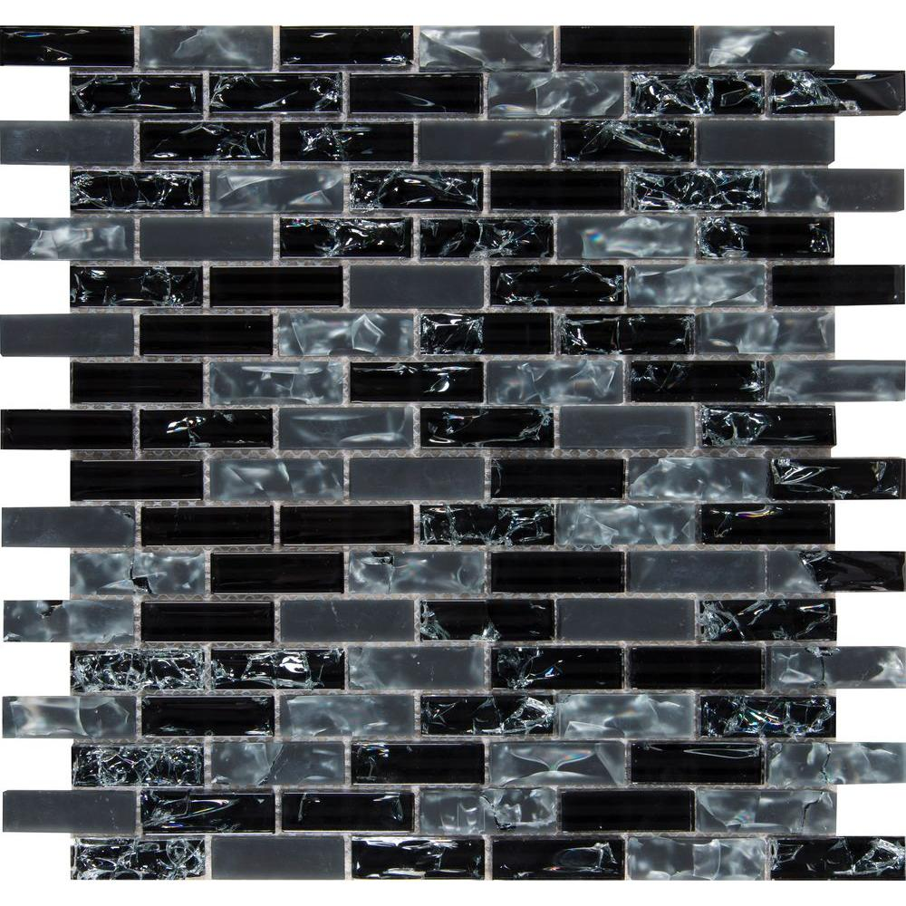 MSI Black Crackle 12 in. x 12 in. x 8 mm Glass Mesh-Mounted Mosaic Tile