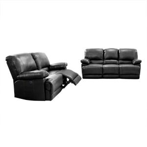 CorLiving 2pc Plush Power Reclining Black Bonded Leather ...
