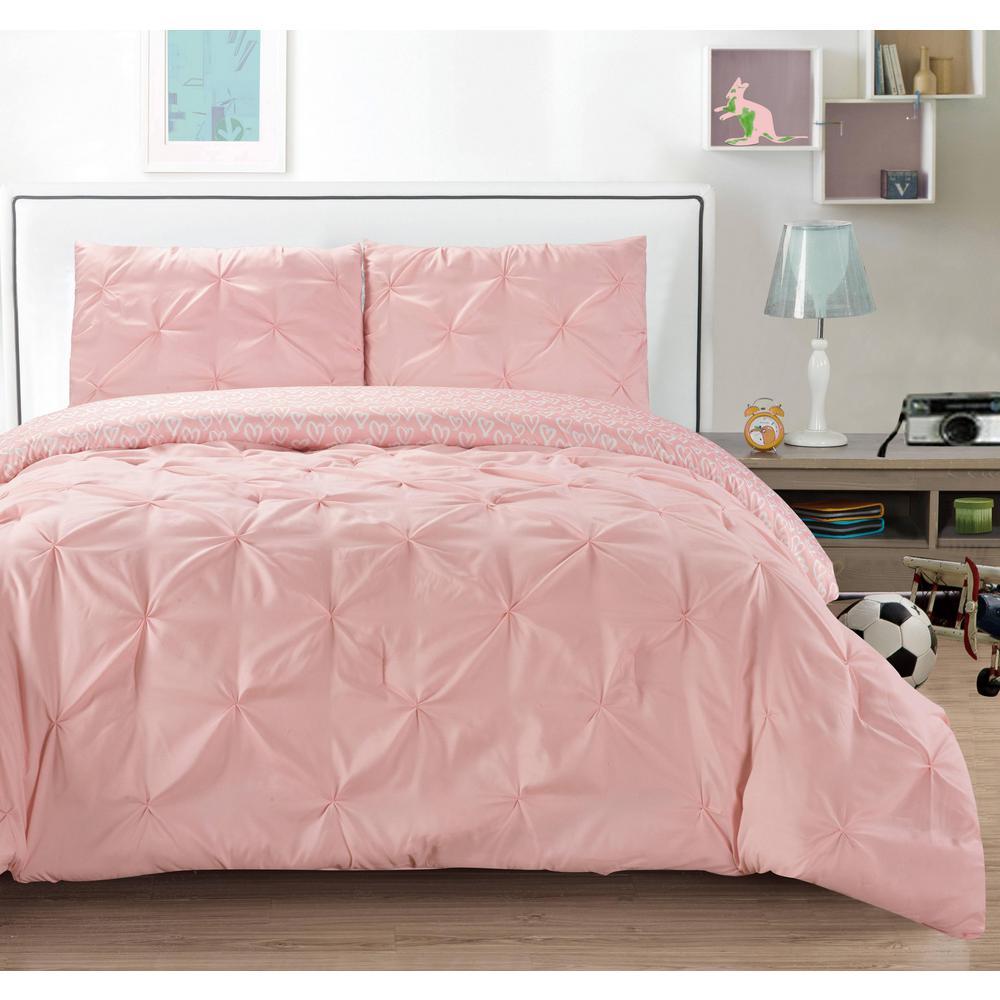Ferrah 2 Piece Twin Duvet Set In Hot Pink