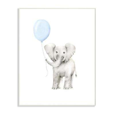 "10 in. x 15 in. ""Baby Elephant with Blue Balloon Watercolor"" by Studio Q Printed Wood Wall Art"