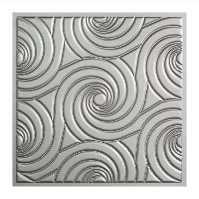 Typhoon - 2 ft. x 2 ft. Vinyl Lay-In Ceiling Tile in Argent Silver