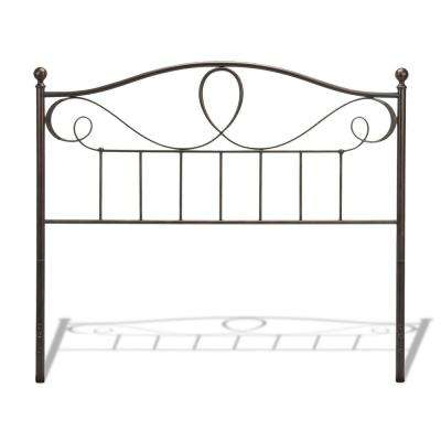 Sylvania French Roast Queen Metal Headboard with Curved Grill Design and Finial Posts