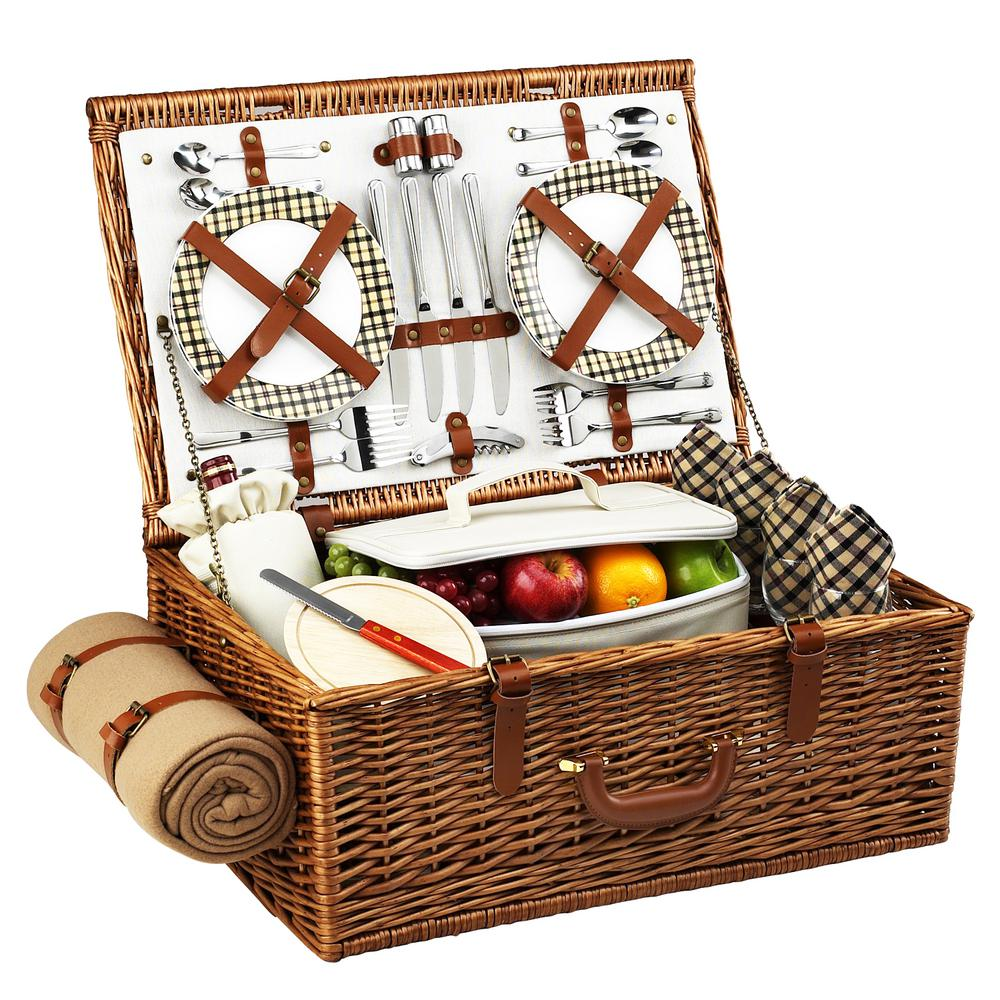 Dorset English in Style Willow Picnic Basket with Service for 4
