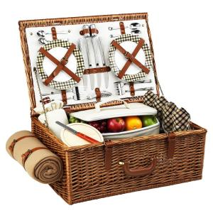 Dorset English in Style Willow Picnic Basket with Service for 4 and Blanket in London Plaid by