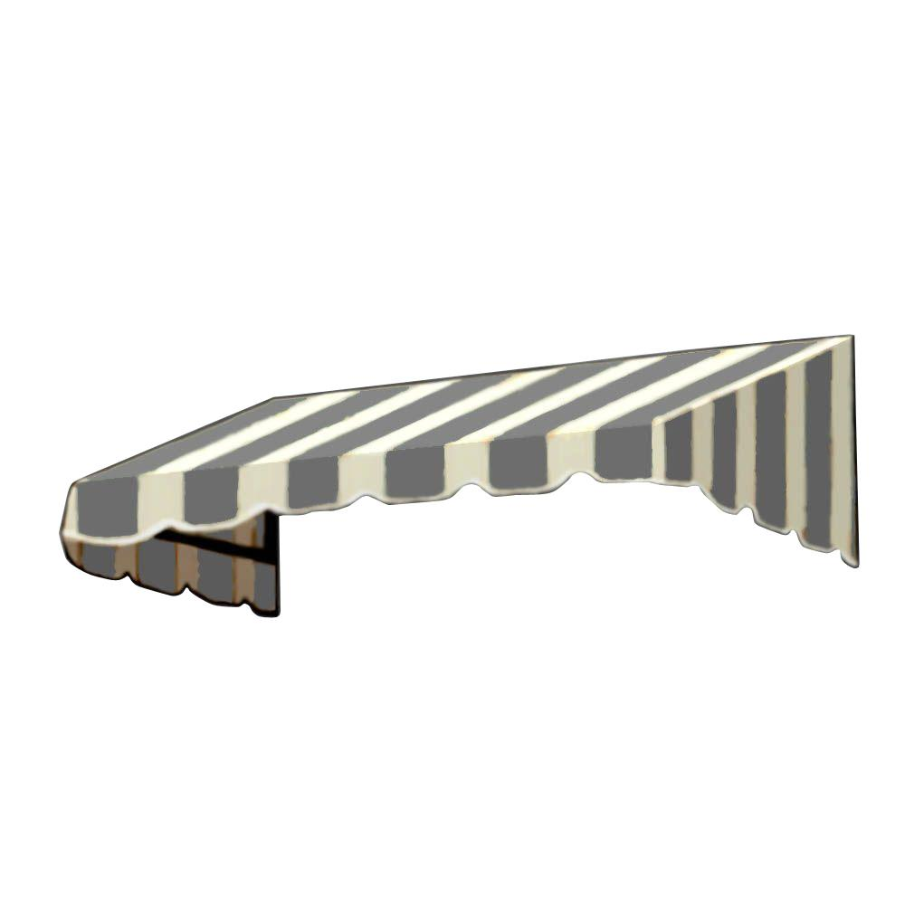 AWNTECH 20 ft. San Francisco Window/Entry Awning (44 in. H x 48 in. D) in Gray/White Stripe