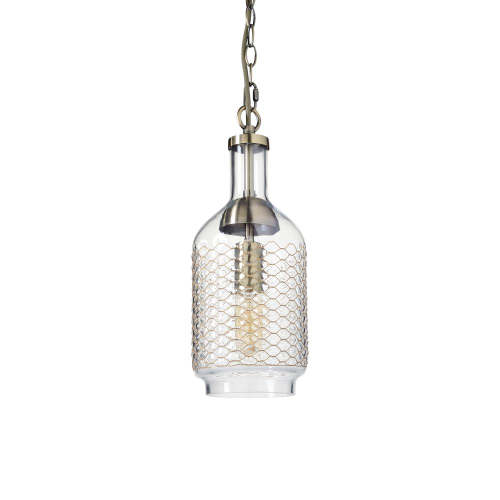 1-Light Brass Clear/Small Industrial Edison Hand Blown Glass Pendant