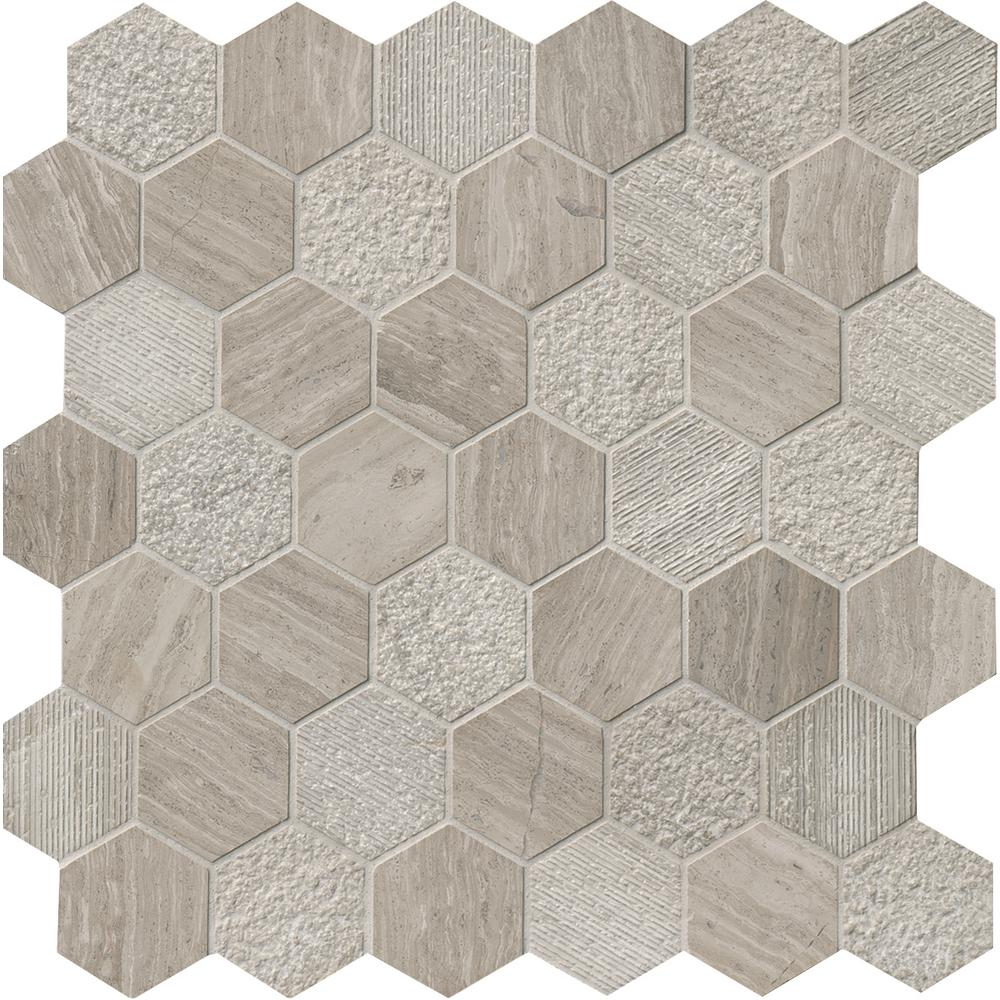 MSI Honeycomb Hexagon 11.75 in. x 12 in. x 10mm Natural Marble Mesh-Mounted Mosaic Floor and Wall Tile