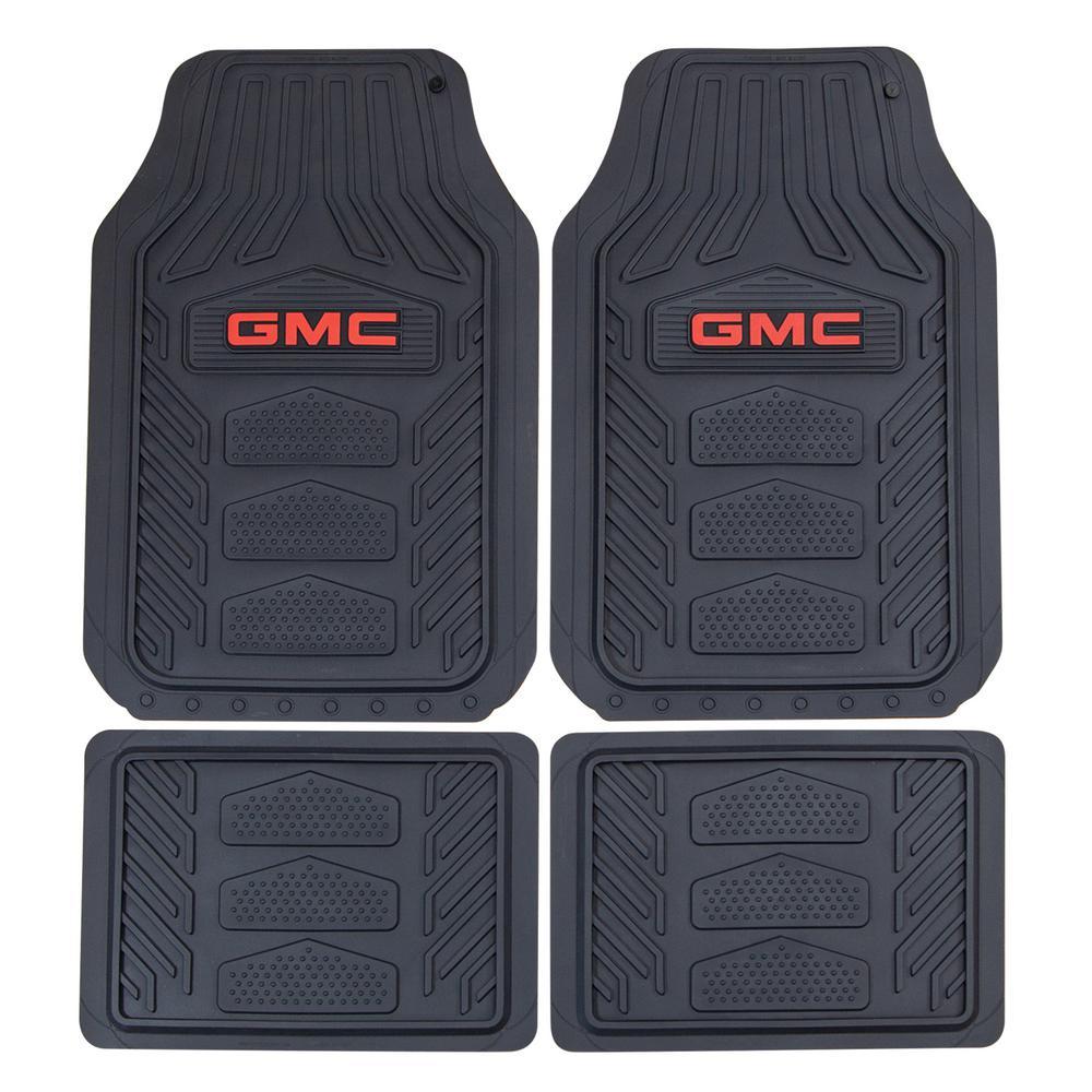 GMC WeatherPro 27 in. x 17.5 in. 4-Piece Set Ultra-Durable Rubber Utility Black/Red Floor Mat