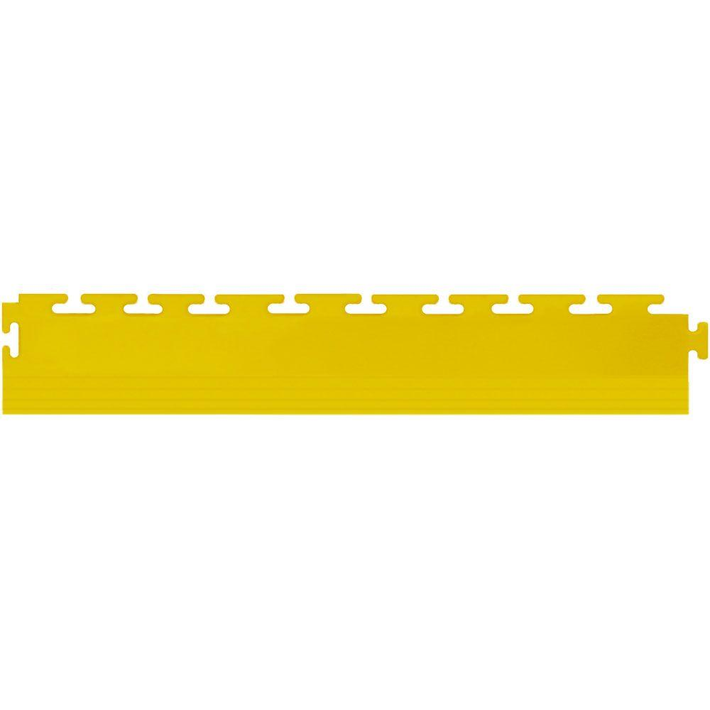 IT-tile 20-1/2 in. x 2-1/2 in. Coin Yellow PVC Tapered Interlocking Multi-Purpose Flooring Tile Edges (4-Pack)