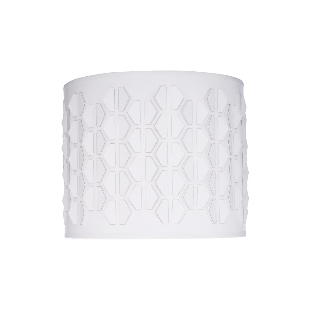 12 in. x 10 in. Off White and Hexagon Pattern Drum/Cylinder