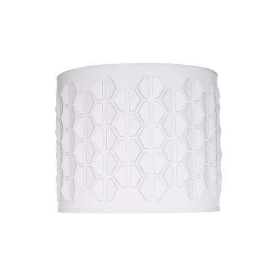 12 in. x 10 in. Off White and Hexagon Pattern Drum/Cylinder Lamp Shade