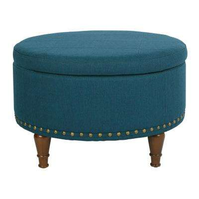 Alloway Azure Fabric with Antique Bronze Nail-Heads Storage Ottoman