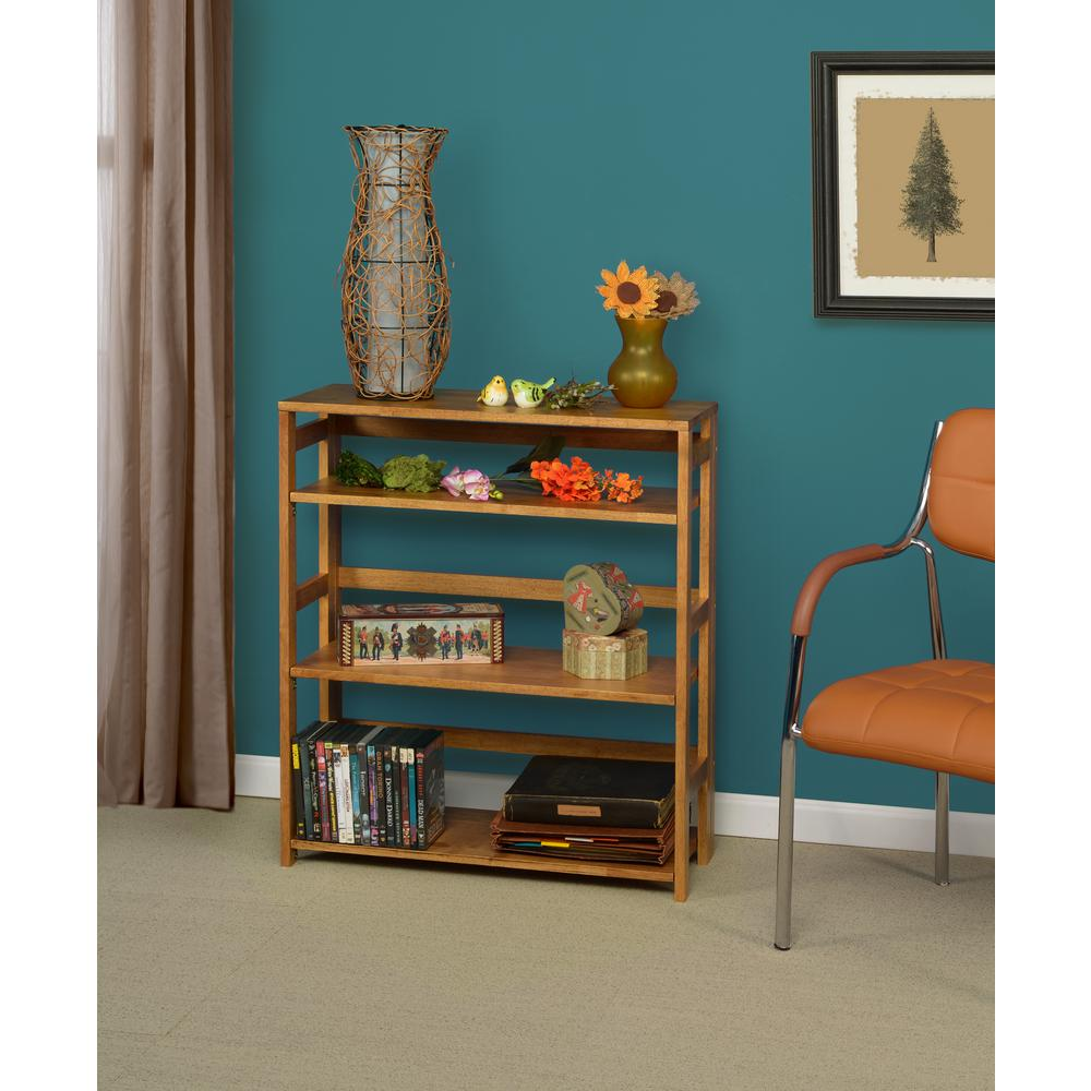 Flip Flop Medium Oak 3-Shelf 30 in. Wide Folding Bookcase