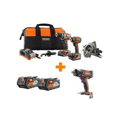 GEN5X 18-Volt Lithium-Ion Brushless Cordless Combo Kit (3-Tool) with Bonus Impact Wrench and 4.0Ah Battery (2-Pack)