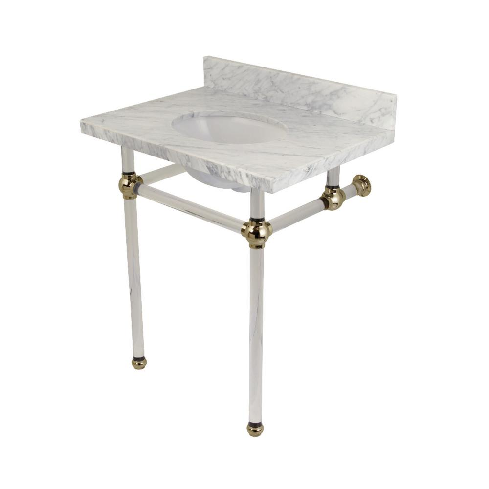 Swell Kingston Brass Washstand 30 In Console Table In Carrara Marble White With Acrylic Legs In Polished Nickel Spiritservingveterans Wood Chair Design Ideas Spiritservingveteransorg