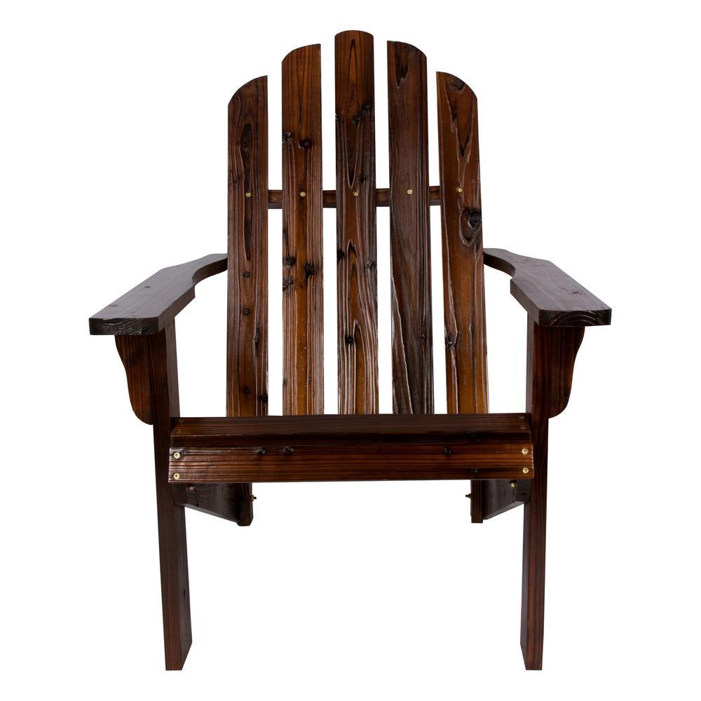 Beau Shine Company Marina Burnt Brown Cedar Wood Adirondack Chair