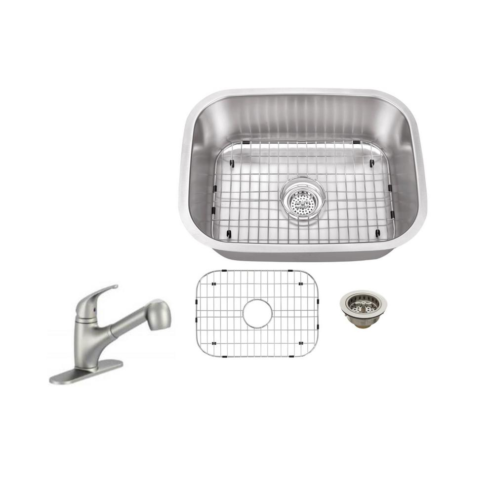 Undermount 23 in. 18-Gauge Stainless Steel Bar Sink in Brushed Stainless