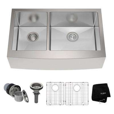 Farmhouse Apron Front Stainless Steel 33 in. Double Bowl Kitchen Sink Kit in Stainless Steel