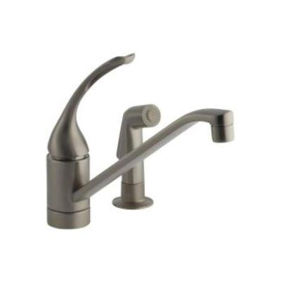 Coralais Single-Handle Standard Kitchen Faucet with 10 in. Spout, Sprayhead and Loop Handle in Vibrant Brushed Nickel