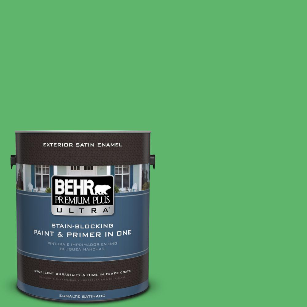 BEHR Premium Plus Ultra 1-gal. #P390-6 Lawn Party Satin Enamel Exterior Paint