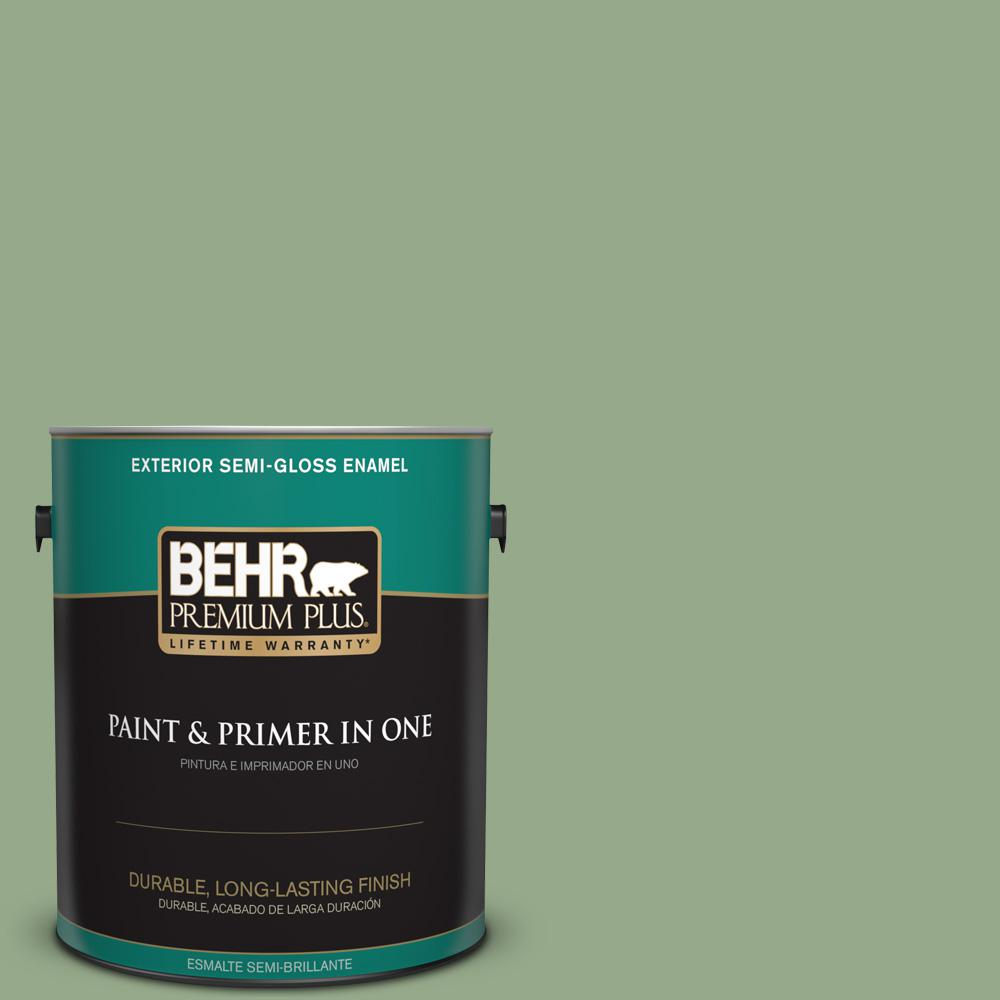 1 gal. #PPU11-05 Pesto Green Semi-Gloss Enamel Exterior Paint