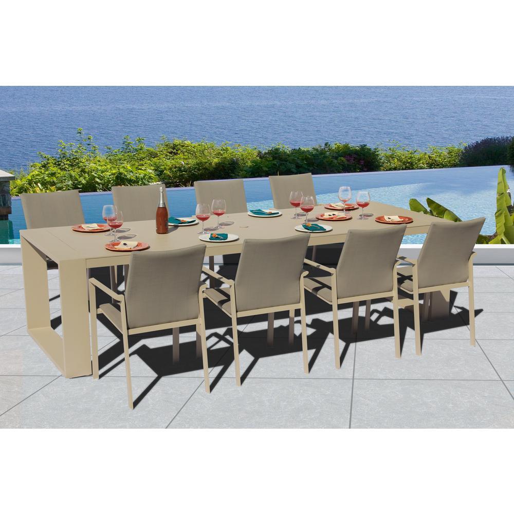 Bellini Home And Gardens Home Garden Ritz Crema Aluminum Outdoor Set Slin Set Pecan