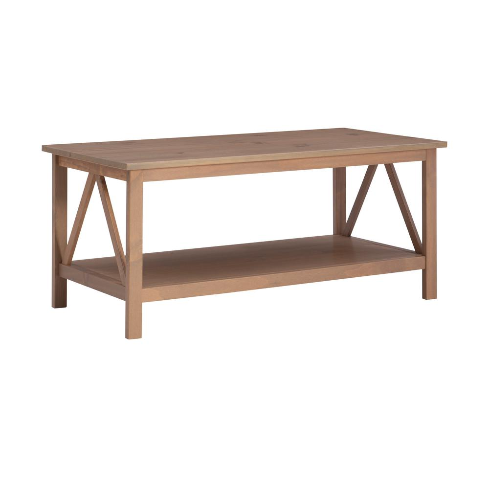 Linon Home Decor Titian 45 In Driftwood Large Rectangle Wood Coffee Table With Shelf 86151gry01u The Home Depot