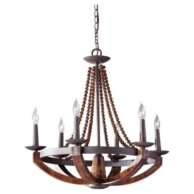 Adan 26.375 in. W 6-Light Rustic Iron/Burnished Wood Chandelier with Carved Wood Bead Details