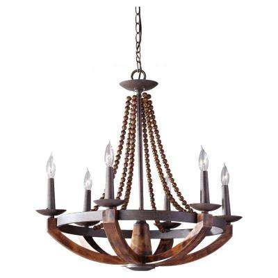 Adan 6-Light Rustic Iron/Burnished Wood Chandelier