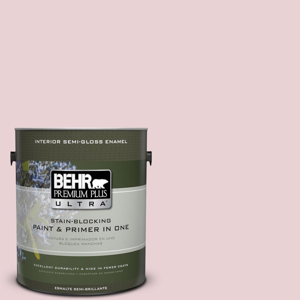 BEHR Premium Plus Ultra 1-gal. #S130-1 Beloved Pink Semi-Gloss Enamel Interior Paint