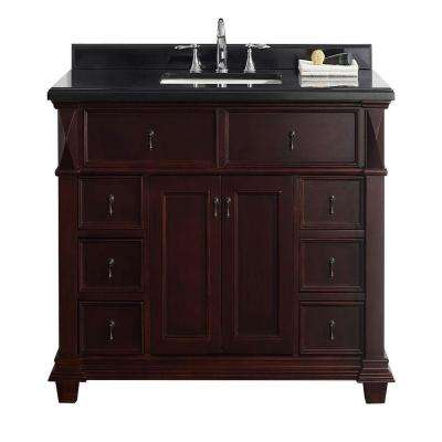 Kathy 48 in. W x 22 in. D Vanity in Chocolate with Granite Vanity Top in Black with White Basin