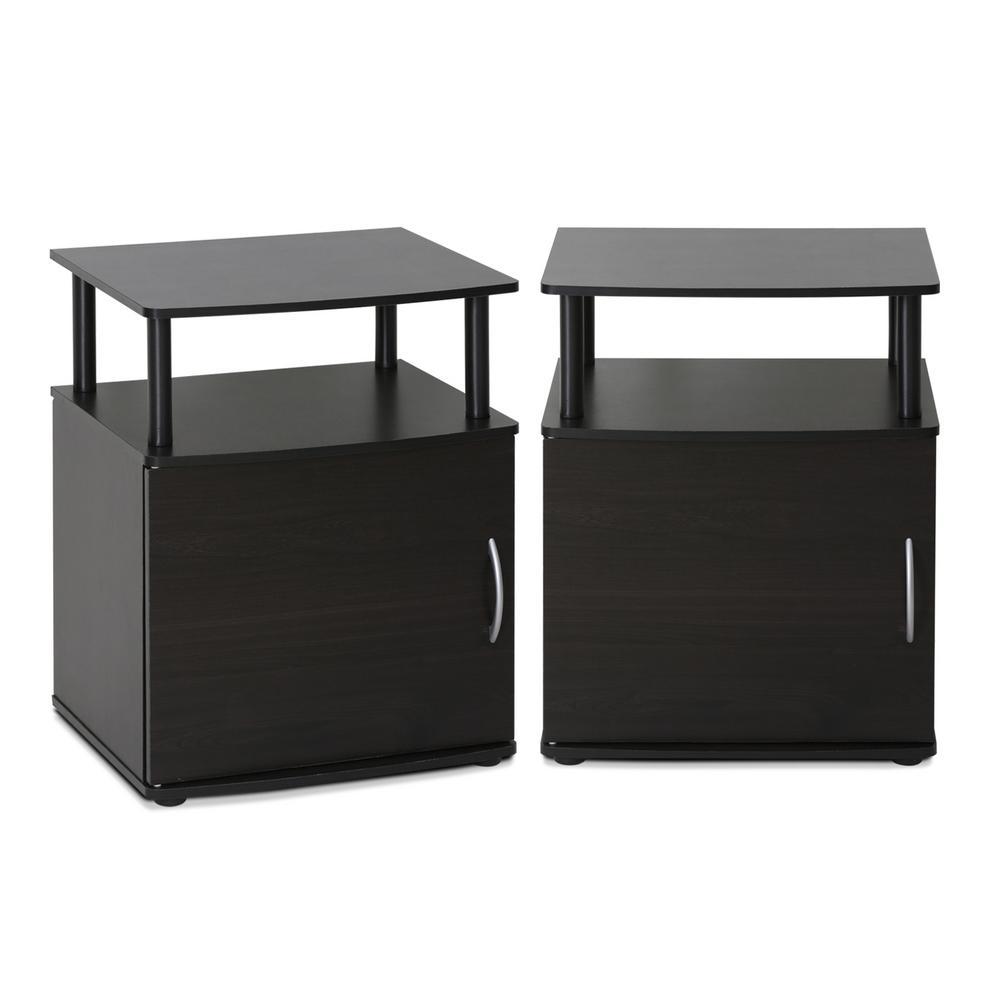 Jaya Utility Design 24 in. Black End Table (Set of 2)