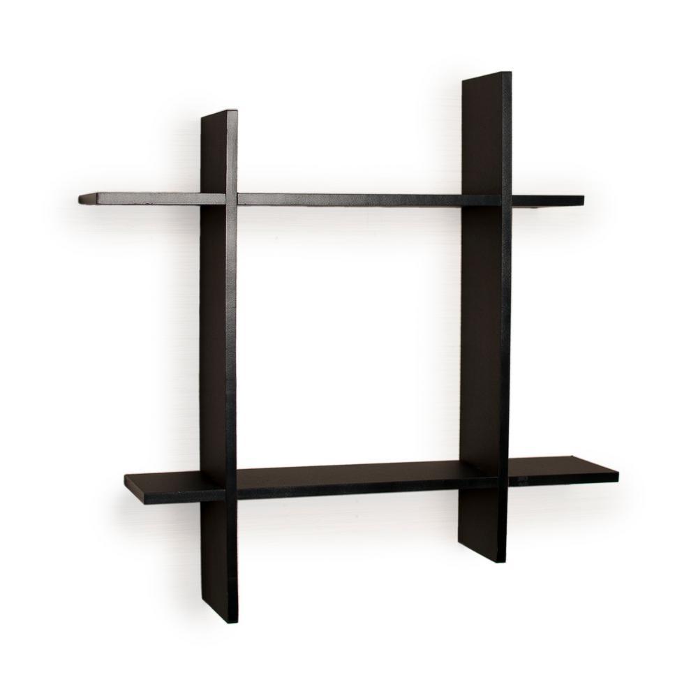 Contempo 24 in. W x 24 in. H Black Laminate MDF Asymmetric Square Floating Wall Shelf