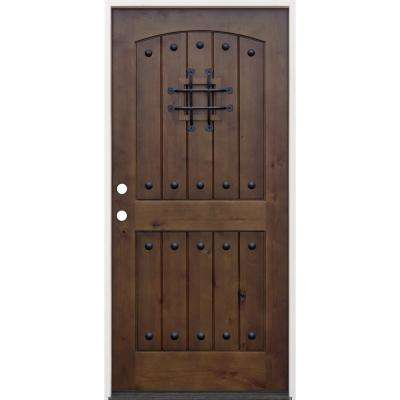 36 In X 80 In Walnut Right Hand Inswing Arched 2 Panel V Groove Speak Easy Stained Alder Prehung Front Door