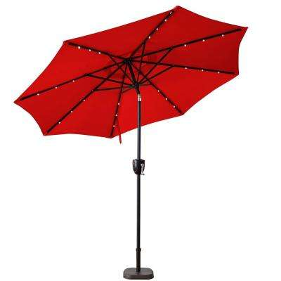 9 ft. Bluetooth Speaker Solar Lighted Market Patio Umbrella in Scarlet