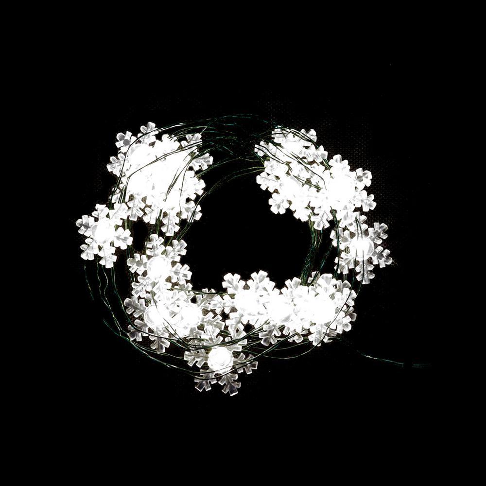 6 ft. 18-Light LED Warm White Snowflake Ultra Slim String Light