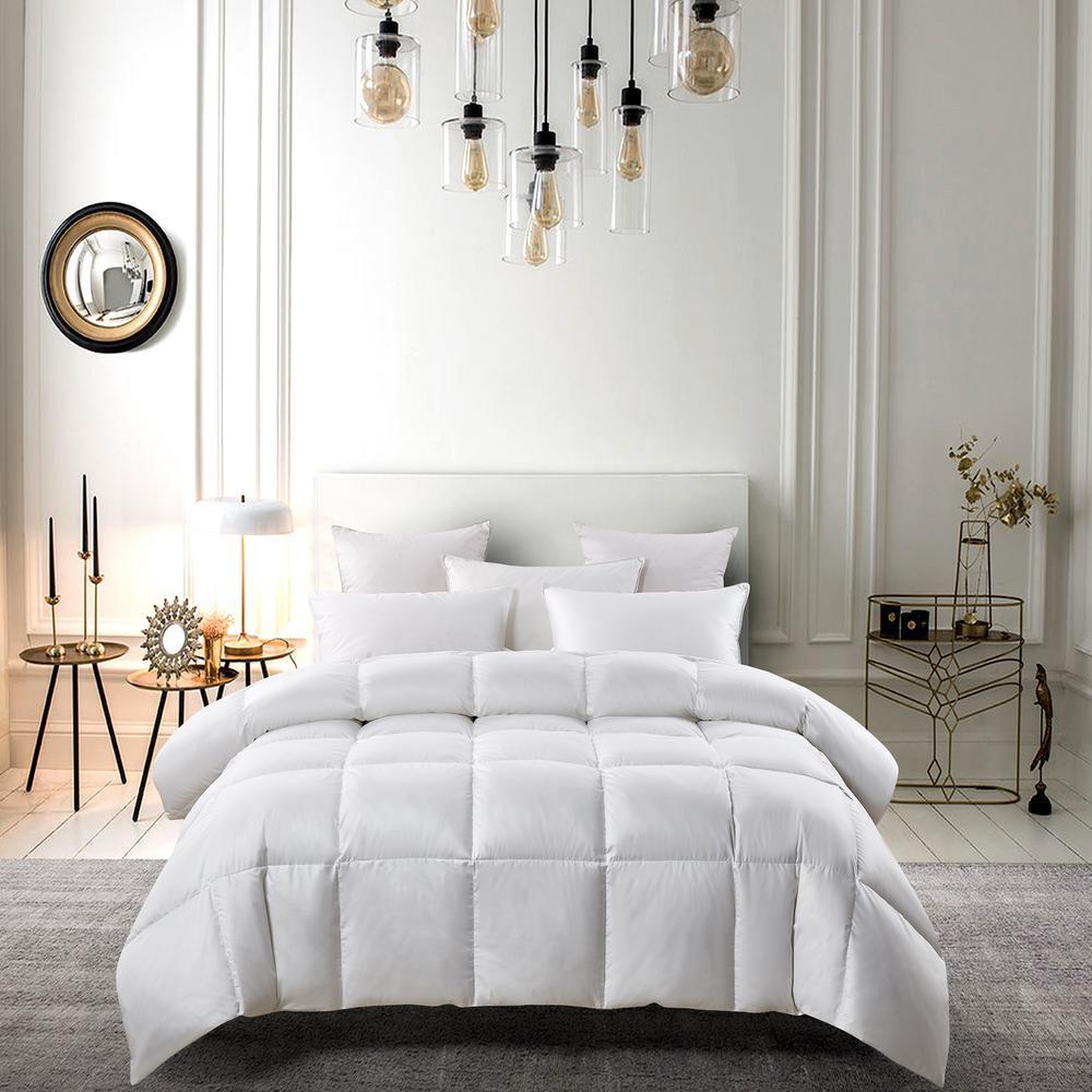 300TC Year Round Warmth White King Size White Down Fiber And White Feather Fiber Comforter