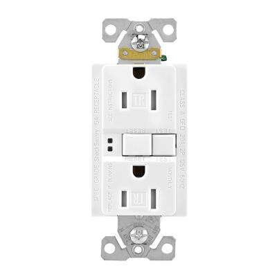 GFCI Self-Test 15A -125V Tamper Resistant Duplex Receptacle with Standard Size Wallplate, White