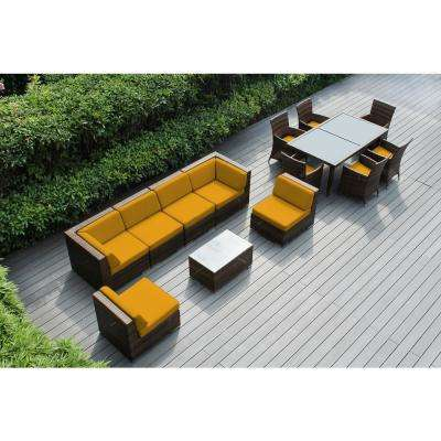 Mixed Brown 14-Piece Wicker Patio Combo Conversation Set with Sunbrella Sunflower Yellow Cushions