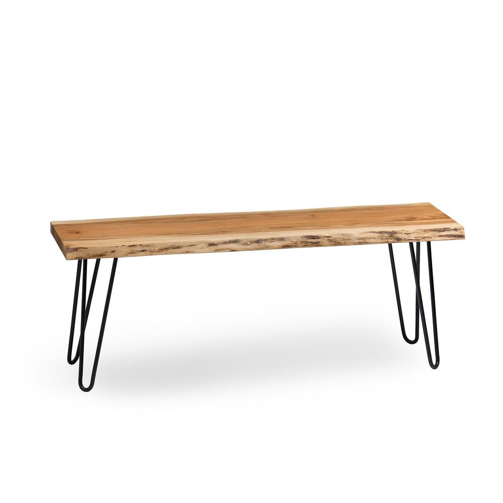 Hairpin Natural Live Edge Wood with Metal 48 in. Bench