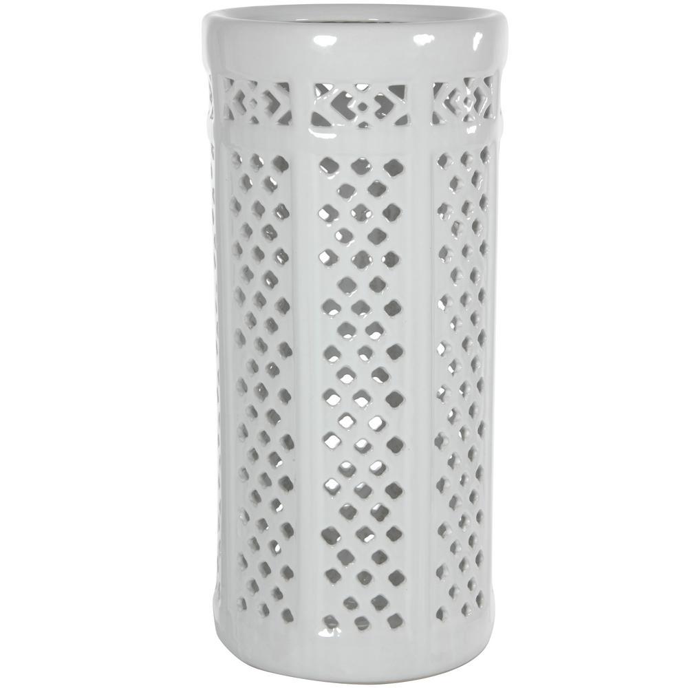 Oriental Furniture 17.5 in. Porcelain Decorative Vase in White