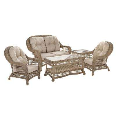 Saturn 5-Piece Wicker Patio Conversation Set with Beige Cushions