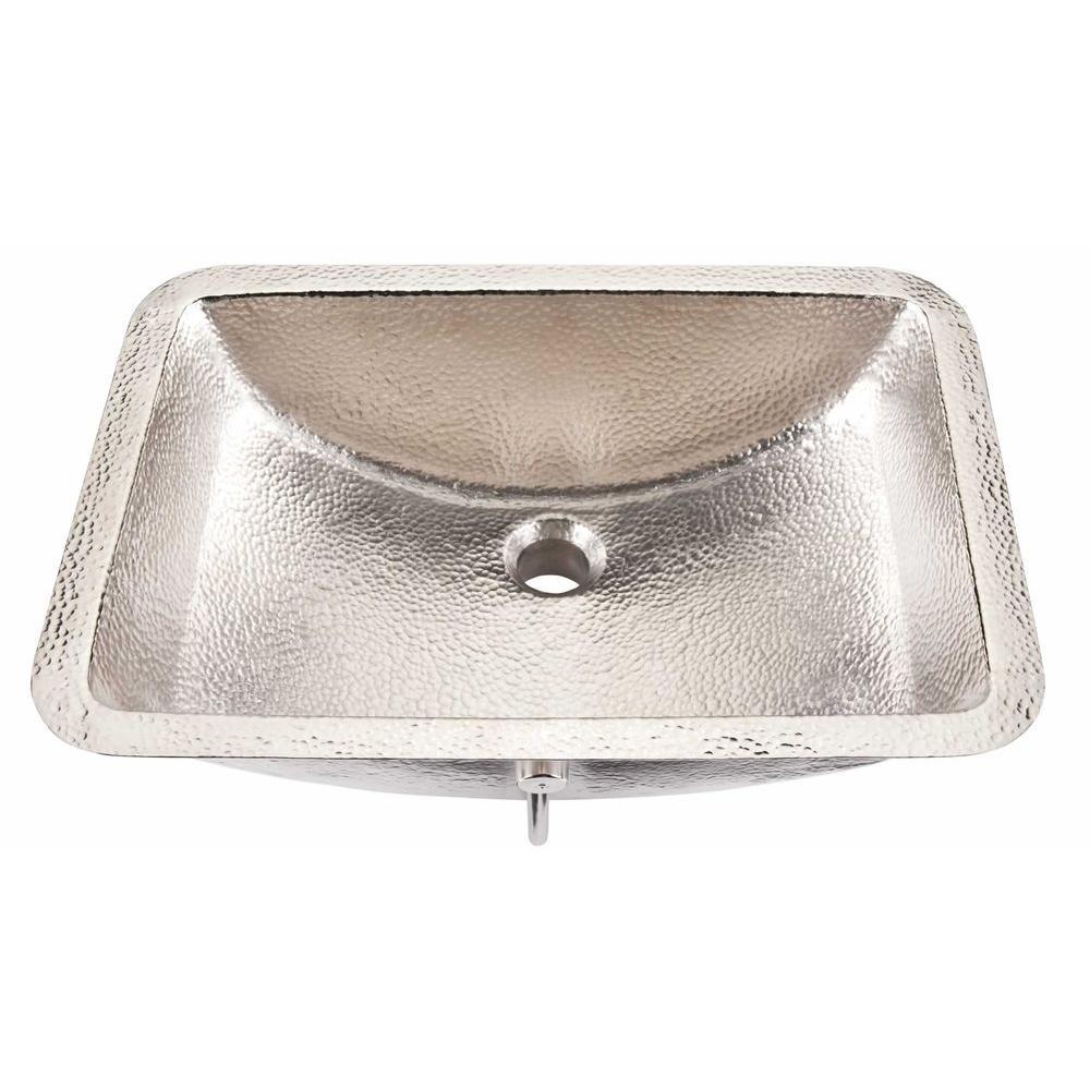 SINKOLOGY Descrates 21 in. Under-Mounted Handcrafted Bathroom Sink with Overflow in Nickel