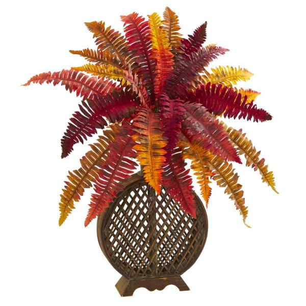 Nearly Natural Indoor 30 Autumn Boston Fern Artificial Plant in Weave