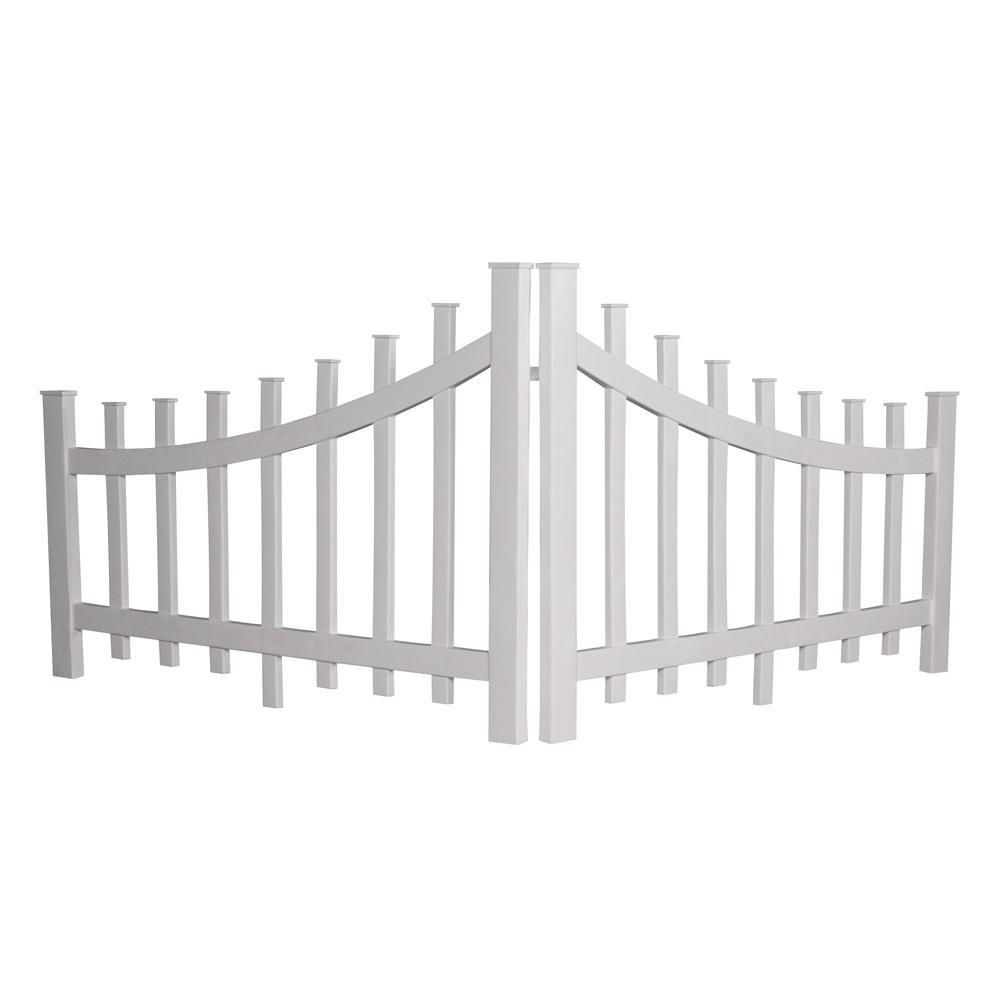 2.76 ft. x 3.97 ft. White Vinyl Corner Accent Fence Panel