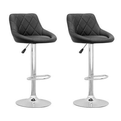 Adjustable Black Leatherette Diamond Back Swivel Bar Stool (Set of 2)
