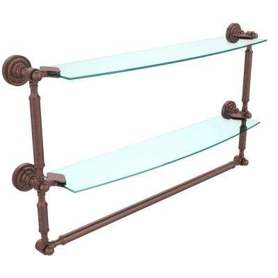 Dottingham 24 in. L  x 15 in. H  x 5 in. W 2-Tier Clear Glass Bathroom Shelf with Towel Bar in Antique Copper