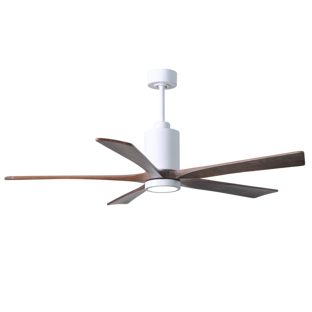 Led Indoor Outdoor Damp Gloss White Ceiling Fan With Light