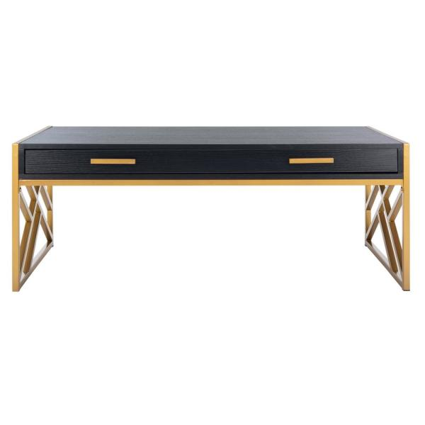 Elaine 43.3 in. Black/Gold Rectangle Wood Coffee Table with 2-Drawer