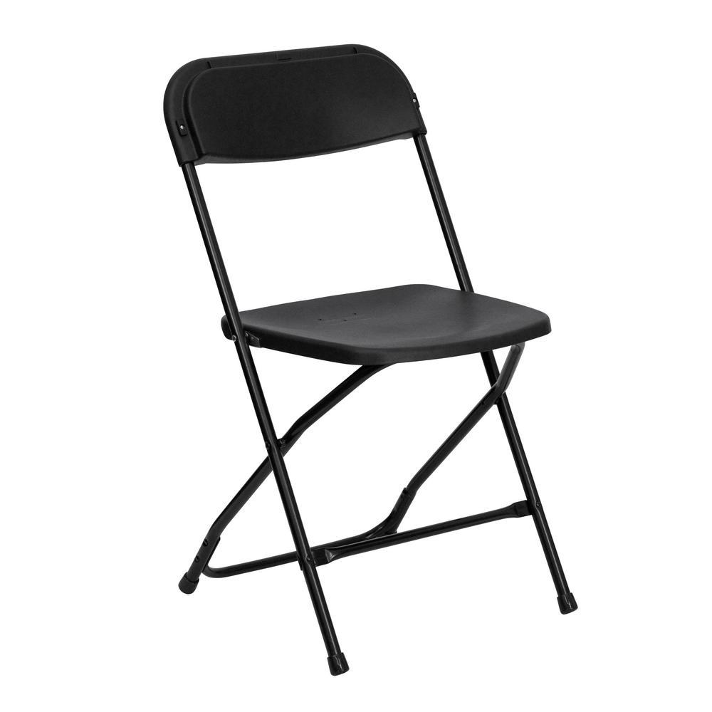 Flash Furniture Hercules Series 800 Lb. Capacity Premium Black Plastic  Folding Chair